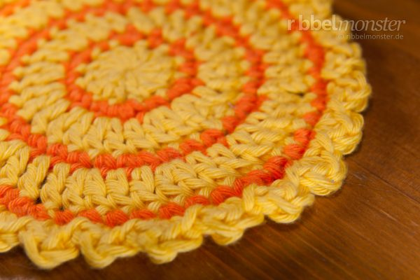 "Crochet Round Coaster ""Sunshine"""