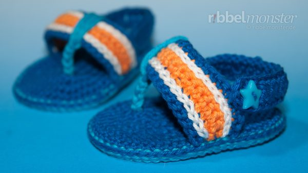 "Crochet Baby Shoes – Flip Flops ""Twister"" – aqua"