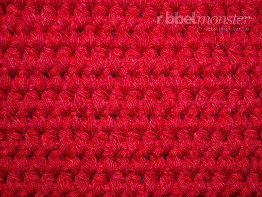 Teppichstich häkeln – tiefere halbe Stäbchen in Reihen