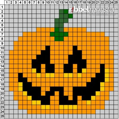 "Pixel Pattern – ""Halloween Pumpkin"" – 25×25"