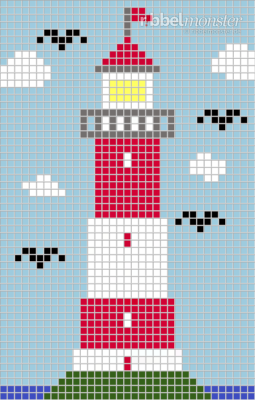 Pixel Pattern – Lighthouse in the sea – 35×55