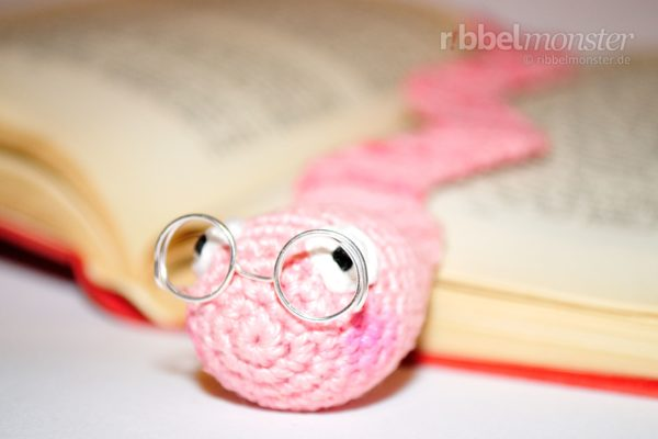 "Crochet Worm Bookmark ""Bookworm Wolbert"""