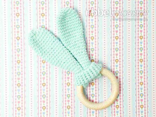 "Crochet Baby Teether – ""Knotted Round Rabbit Ears"""